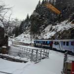 Trenulețul basmelor cu peronul la Saint Moritz